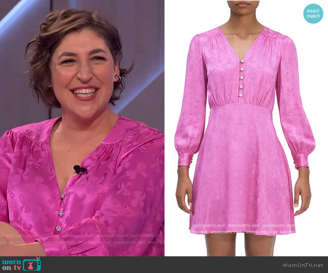 Jewel Button Jacquard Dress by Kate Spade worn by Mayim Bialik on The Kelly Clarkson Show