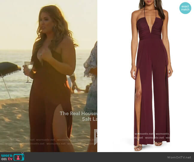 Never Cross Split Leg Jumpsuit by Katie May worn by Emily Simpson  on The Real Housewives of Orange County
