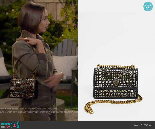 Kurt Geiger London Shoreditch studded leather cross-body bag worn by Celia (Emma Caymares) on Call Your Mother