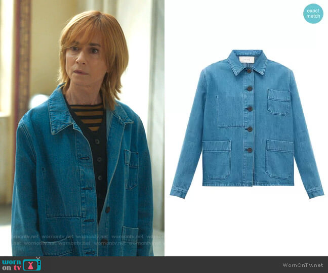 The Row Patch Pocket Denim Jacket worn by Arpi Meskimen (Holly Hunter) on Mr Mayor