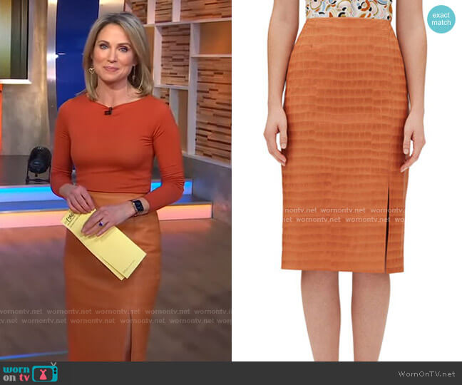 Esma Etched Croco Leather Skirt by Lafayette 148 New York worn by Amy Robach  on Good Morning America
