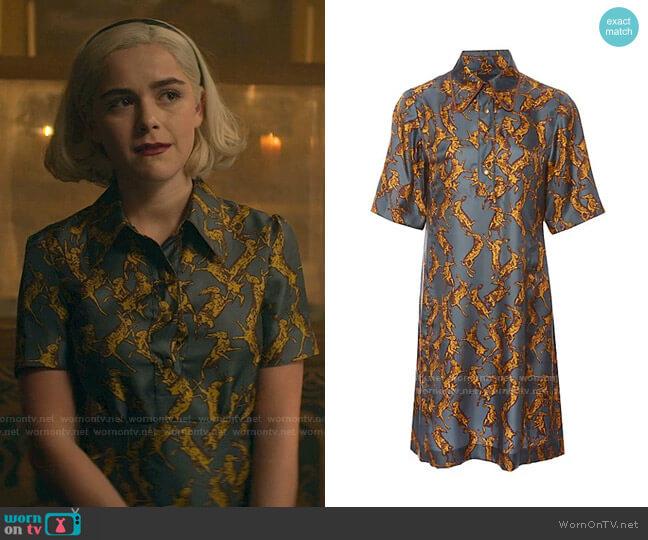 Ruby A-Line Shirt Dress by Land of Distraction worn by Sabrina Spellman (Kiernan Shipka) on Chilling Adventures of Sabrina
