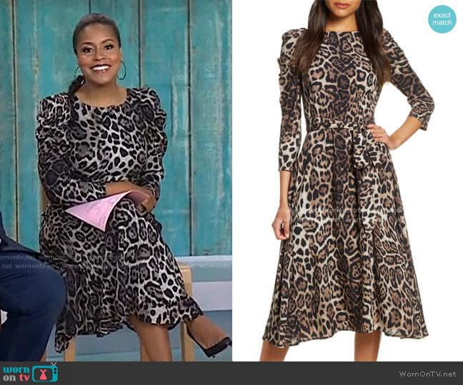 Leopard Print Long Sleeve Midi Dress by Eliza J worn by Sheinelle Jones  on Today
