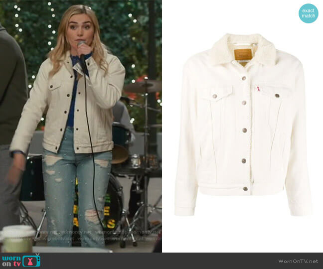 Original Sherpa Trucker denim jacket by Levis worn by Taylor Otto (Meg Donnelly) on American Housewife