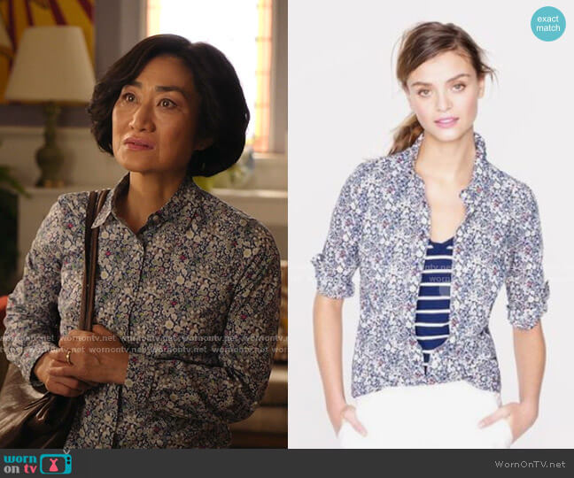 Liberty Perfect Shirt in Junes Meadow Floral by J.Crew worn by Mrs Kim (Jean Yoon) on Kims Convenience