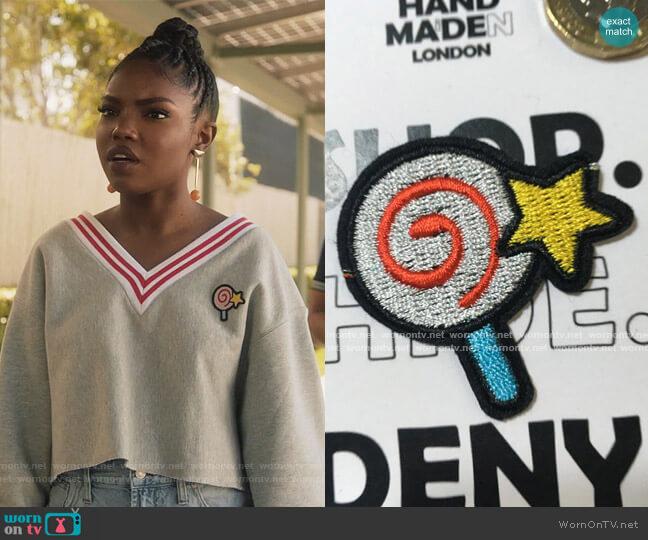Lolly pop star swirl design patch by Handmaidenlonden at Etsy worn by Jillian (Ryan Destiny) on Grown-ish