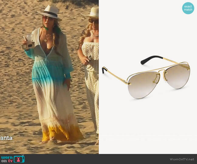 Grease Sunglasses by Louis Vuitton worn by Kelly Dodd  on The Real Housewives of Orange County