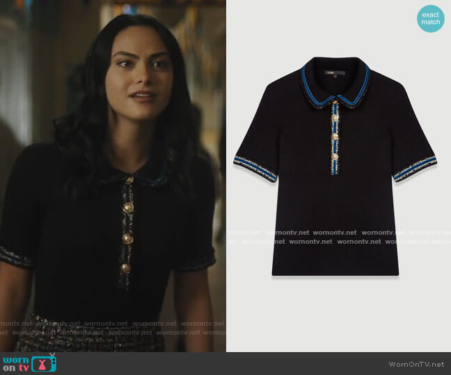 Knitted Polo Sweater by Maje worn by Veronica Lodge (Camila Mendes) on Riverdale