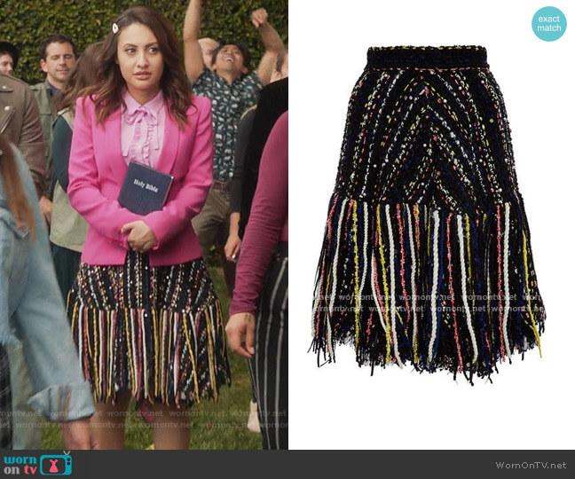 Tweed Fringe Skirt by MSGM worn by Ana Torres (Francia Raisa) on Grown-ish