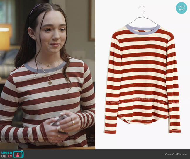 Whisper Cotton Rib-Crewneck Long-Sleeve Tee in Canarsie Stripe by Madewell worn by Grace (Ruby Jay) on The Unicorn