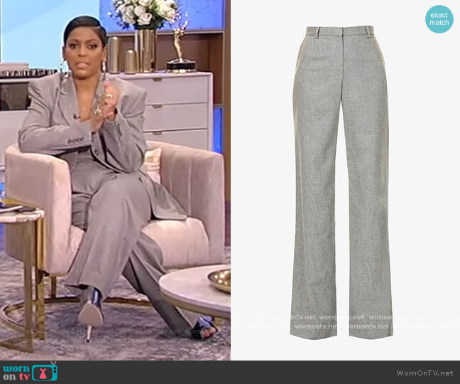 Wide high-rise stretch-wool and cashmere-blend trousers by Magda Butrym worn by Tamron Hall  on Tamron Hall Show