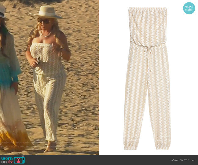 Stella crochet-knit jumpsuit by Melissa Odabash worn by Elizabeth Lyn Vargas  on The Real Housewives of Orange County