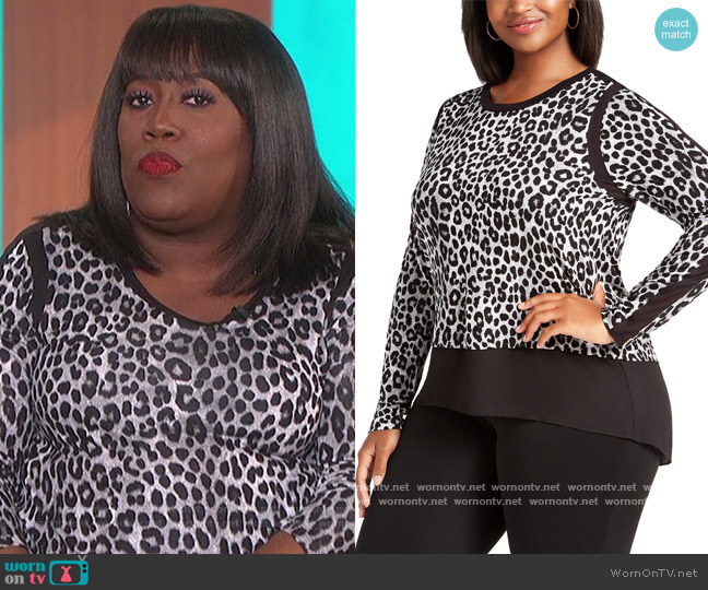 Leopard-Print Contrast-Trim Top by MICHAEL Michael Kors worn by Sheryl Underwood  on The Talk