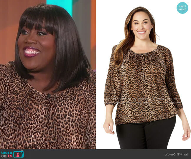 Leopard Peasant Top by Michael Kors worn by Sheryl Underwood  on The Talk
