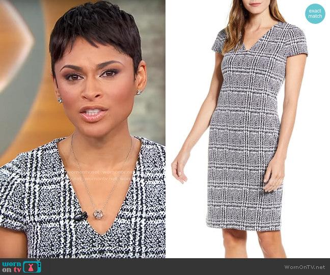 Michael Kors Plaid Jacquard Sheath Dress worn by Jericka Duncan  on CBS Mornings