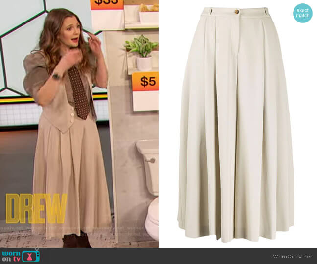 Pleated High-waisted Culottes by Michael Kors Collection worn by Drew Barrymore  on The Drew Barrymore Show