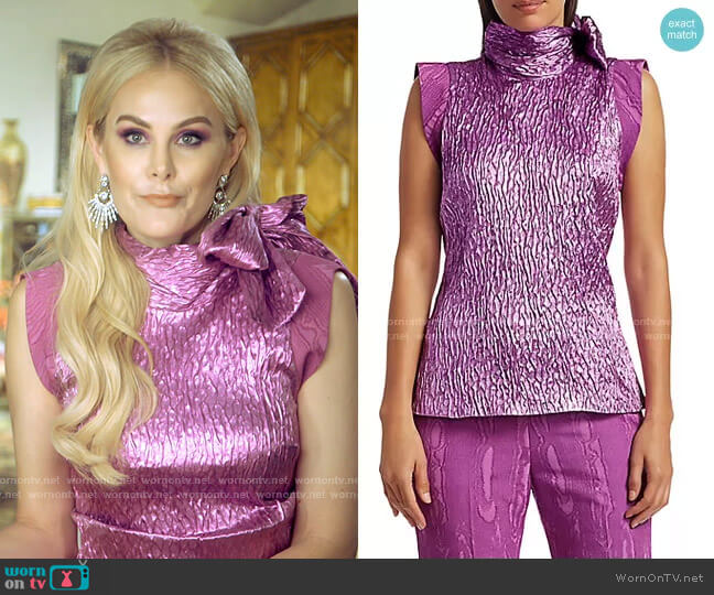 Mirar Jacquard Metallic Tie-Neck Top by Rachel Comey worn by Kameron Westcott  on The Real Housewives of Dallas