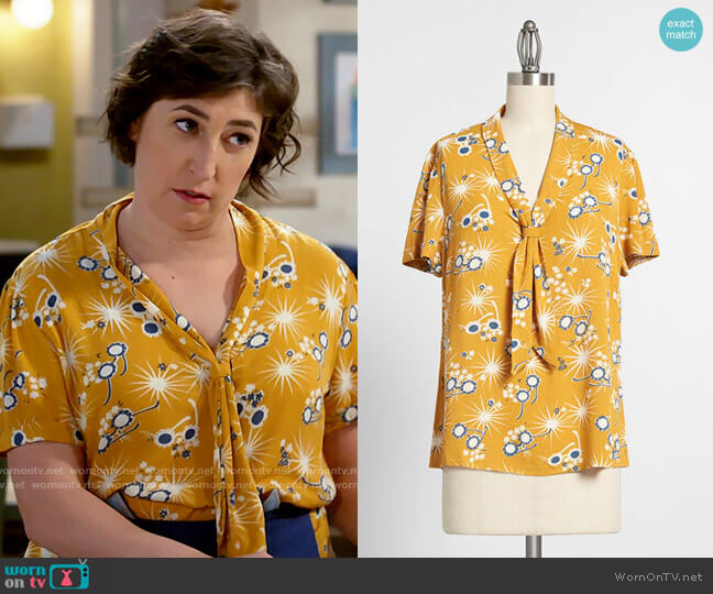 ModCloth Polished and Playful Tie-Neck Blouse worn by Kat Silver (Mayim Bialik) on Call Me Kat