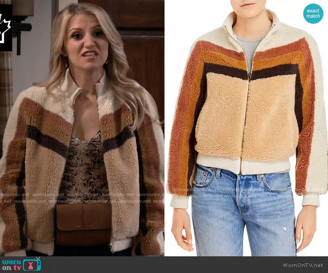 Mother Striped Sherpa Jacket worn by Gina Dabrowski (Annaleigh Ashford) on B Positive
