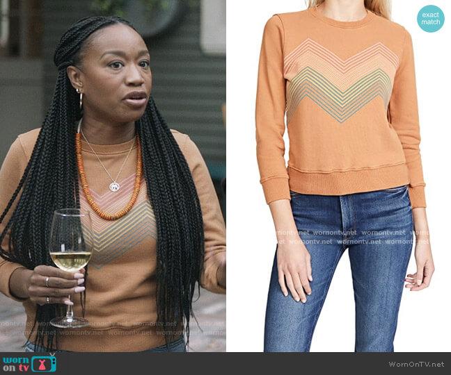 The 3/4 Sleeve Koozie Sweatshirt by Mother worn by Michelle (Maya Lynne Robinson) on The Unicorn