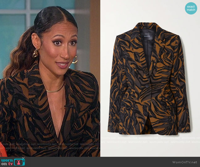 Tiger-jacquard blazer by Mugler worn by Elaine Welteroth  on The Talk