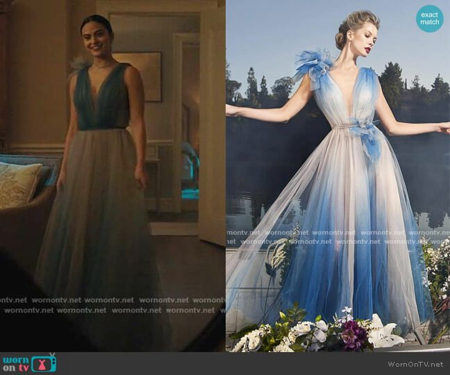 Plunging Ombre Evening Gown by Nicole Bakti worn by Veronica Lodge (Camila Mendes) on Riverdale