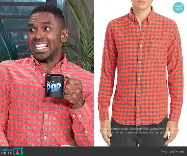 Levon Checked Flannel Button Down Shirt by NN07 worn by Justin Sylvester  on E! News