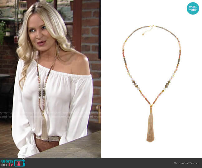 Nakamol Long Beaded Tassel Necklace worn by Sharon Collins (Sharon Case) on The Young & the Restless