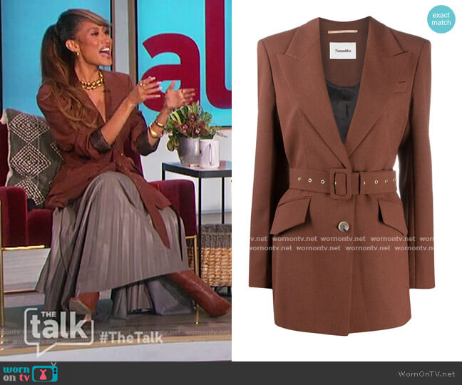 Honor Houndstooth Blazer by Nanushka worn by Elaine Welteroth  on The Talk