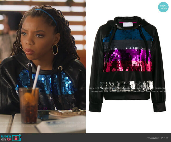 Sequinned Stripes Hoodie by No Ka' Oi worn by Jazlyn Forster (Chloe Bailey) on Grown-ish