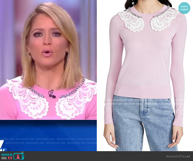 Lace and Jewel Collar Sweater by No. 21 worn by Sara Haines  on The View