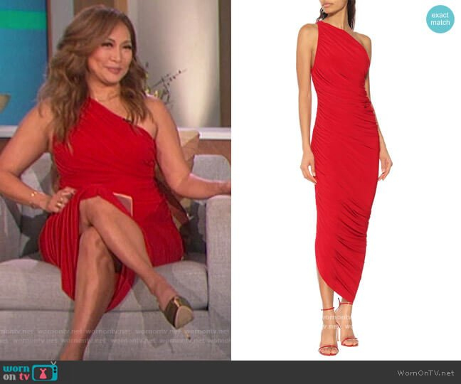 Diana jersey one-shoulder midi dress by Norma Kamali worn by Carrie Inaba  on The Talk