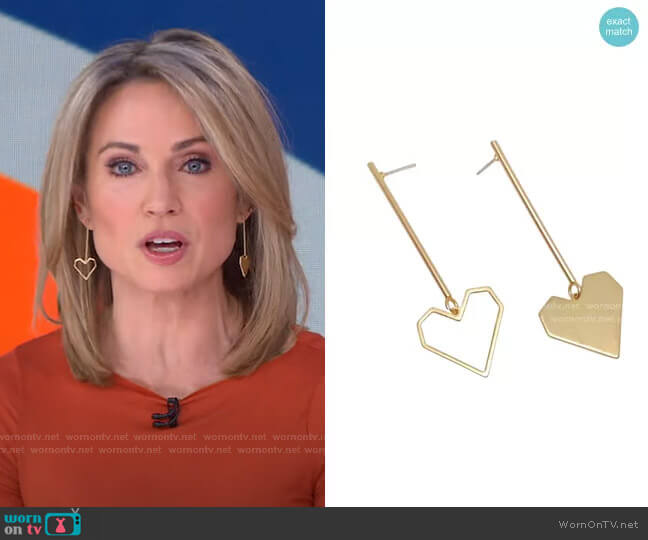 Open Heart Drops Earrings by Accessory Concierge worn by Amy Robach  on Good Morning America