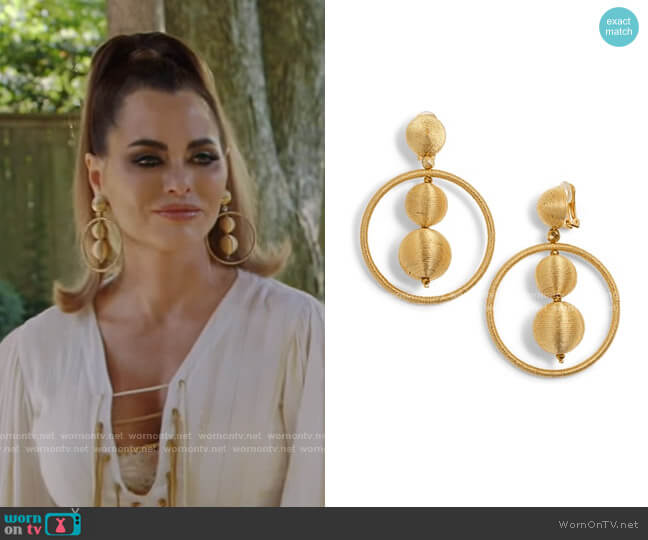 Double Ball Hoop Earrings by Oscar de la Renta worn by D'Andra Simmons  on The Real Housewives of Dallas