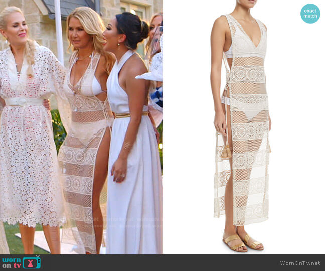 Joy Lace Long Coverup by PQ Swim worn by Kary Brittingham  on The Real Housewives of Dallas