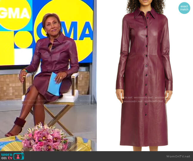 Leather Long Sleeve Midi Dress by Proenza Schouler worn by Robin Roberts  on Good Morning America