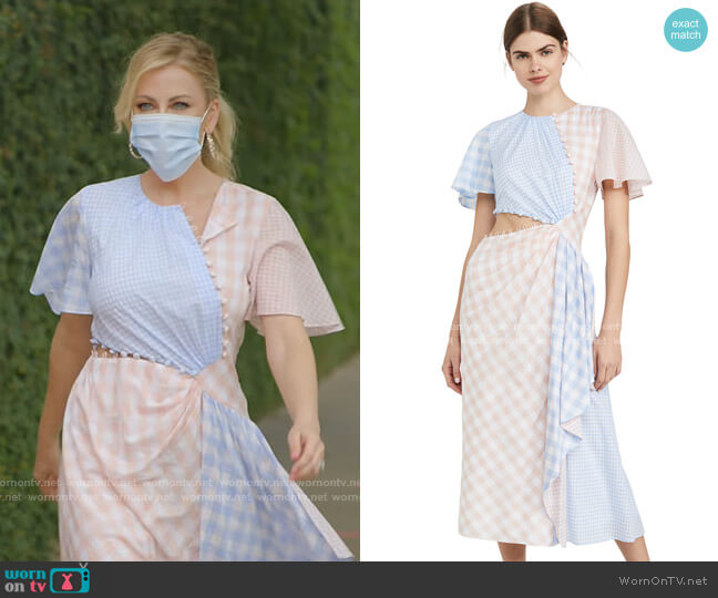 Gingham w/ CascAde and Cutout Detail by Prabal Gurung worn by Stephanie Hollman  on The Real Housewives of Dallas
