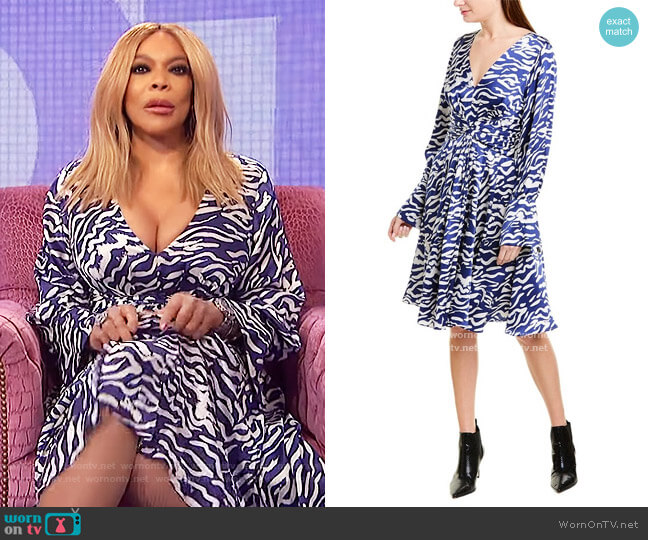 Ruched Silk A-Line Dress by Prabal Gurung worn by Wendy Williams  on The Wendy Williams Show