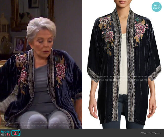 Quito Floral-Embroidered Velvet Kimono w/ Border Stitching by Johnny Was