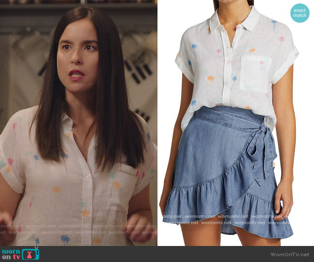 Whitney Palm Tree Print Shirt by Rails worn by Jenny Raven on Kims Convenience