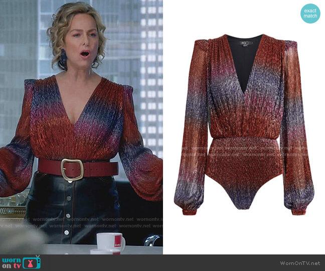 Rainbow Lurex Long-Sleeve Bodysuit by PatBO worn by Jacqueline (Melora Hardin) on The Bold Type