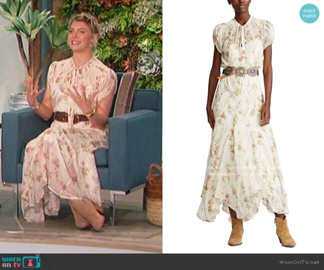 Astr Georgette Midi Dress by Ralph Lauren worn by Amanda Kloots  on The Talk