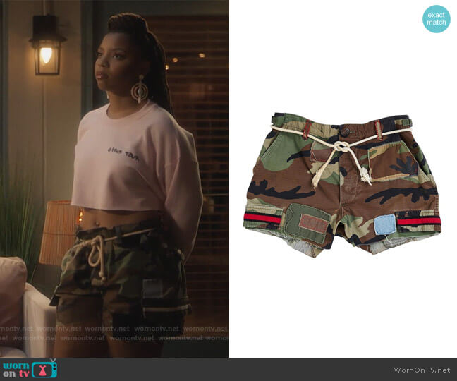 Camo Shorts by Raceway worn by Jazlyn Forster (Chloe Bailey) on Grown-ish