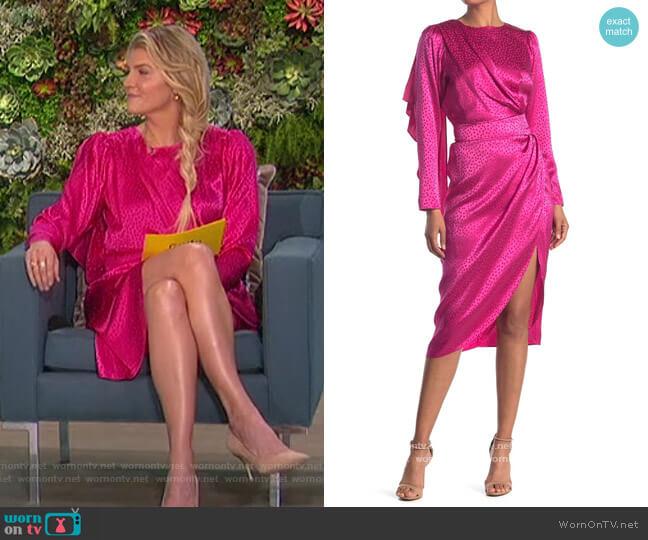 Jade Draped Wrap Skirt Tonal Dot Dress by Ronny Kobo worn by Amanda Kloots  on The Talk