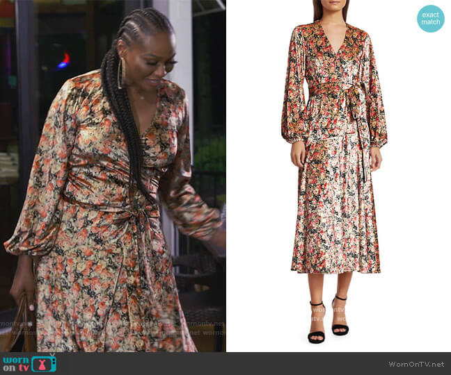 Beatrix Floral Print Velvet Wrap-dress by Rotate by Birger Christensen worn by Cynthia Bailey  on The Real Housewives of Atlanta