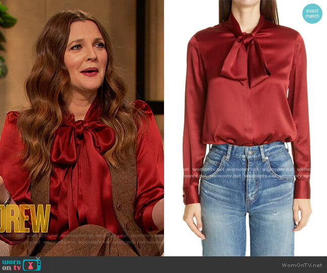 Tie Neck Silk Satin Blouse by Saint Laurent worn by Drew Barrymore  on The Drew Barrymore Show