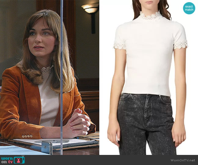 Anie Lace Trim Tee by Sandro worn by Samantha Powell (Audrey Corsa) on All Rise