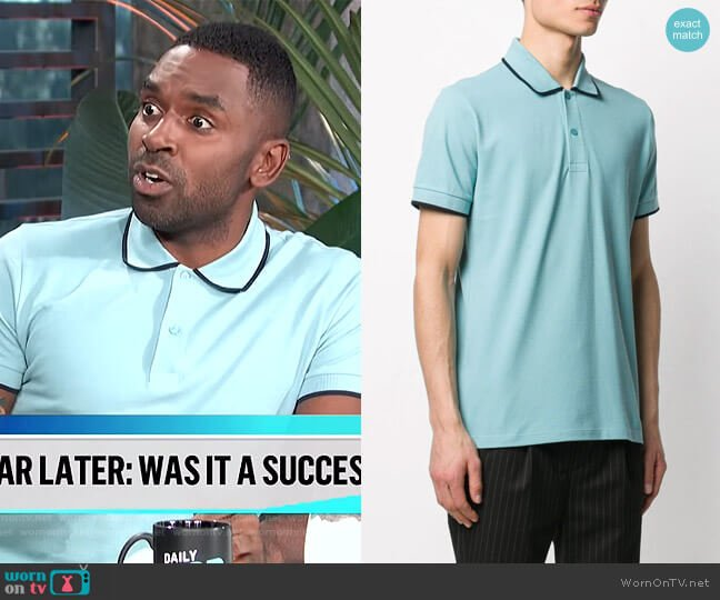 Contrast Trim Short Sleeved Polo Shirt by Sandro worn by Justin Sylvester  on E! News