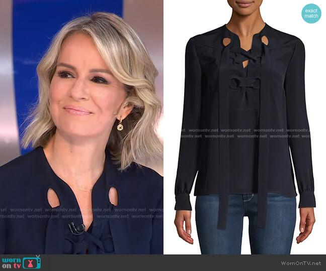 Sara Lace-Up Silk Blouse by Derek Lam worn by Dr. Jennifer Ashton  on Good Morning America