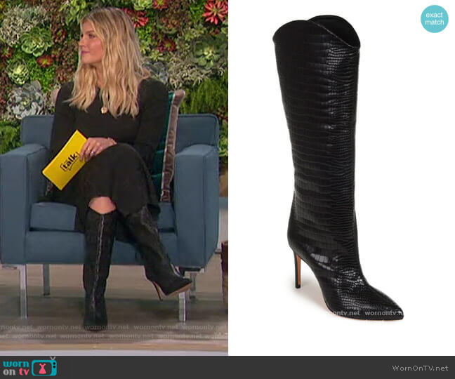 Maryana Pointed Toe Boot by Schutz worn by Amanda Kloots  on The Talk